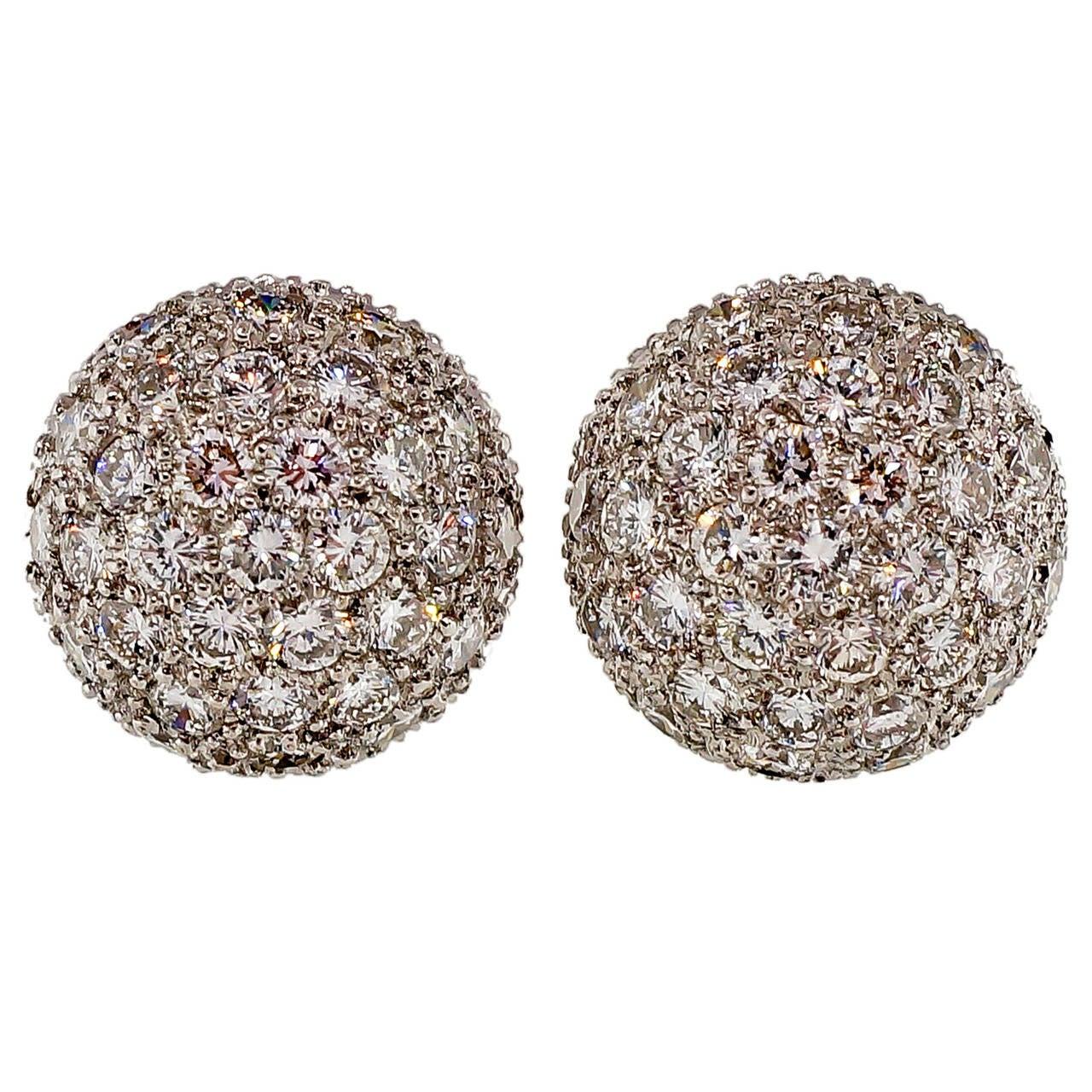 High Dome Diamond 3-D Cluster White Gold Earrings