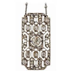 1920s  Old European Rose Cut Diamond Platinum Pendant