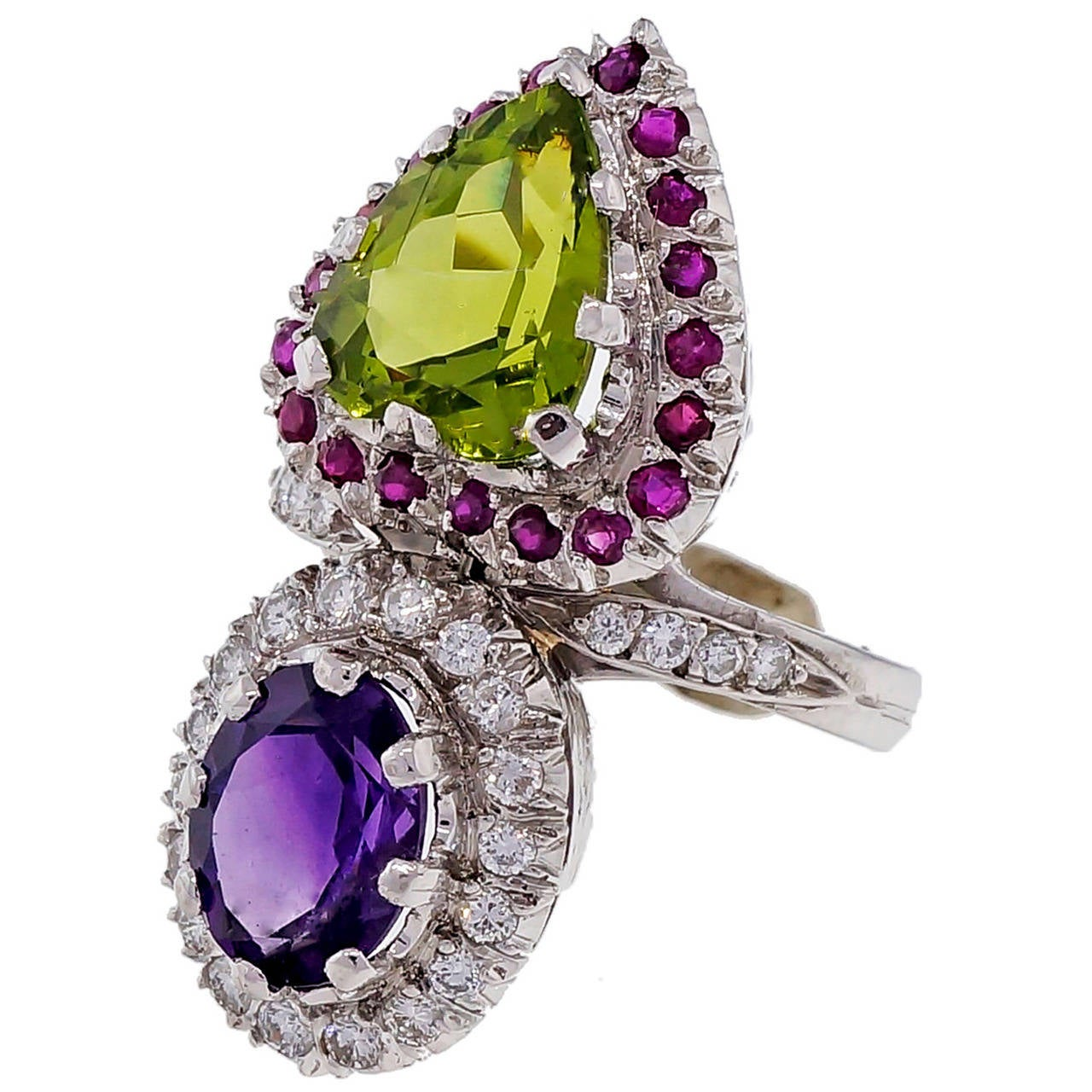 Peridot Amethyst Ruby Diamond Platinum Ring