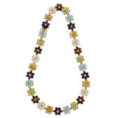 Amethyst Citrine Topaz Garnet Peridot Yellow Gold Necklace