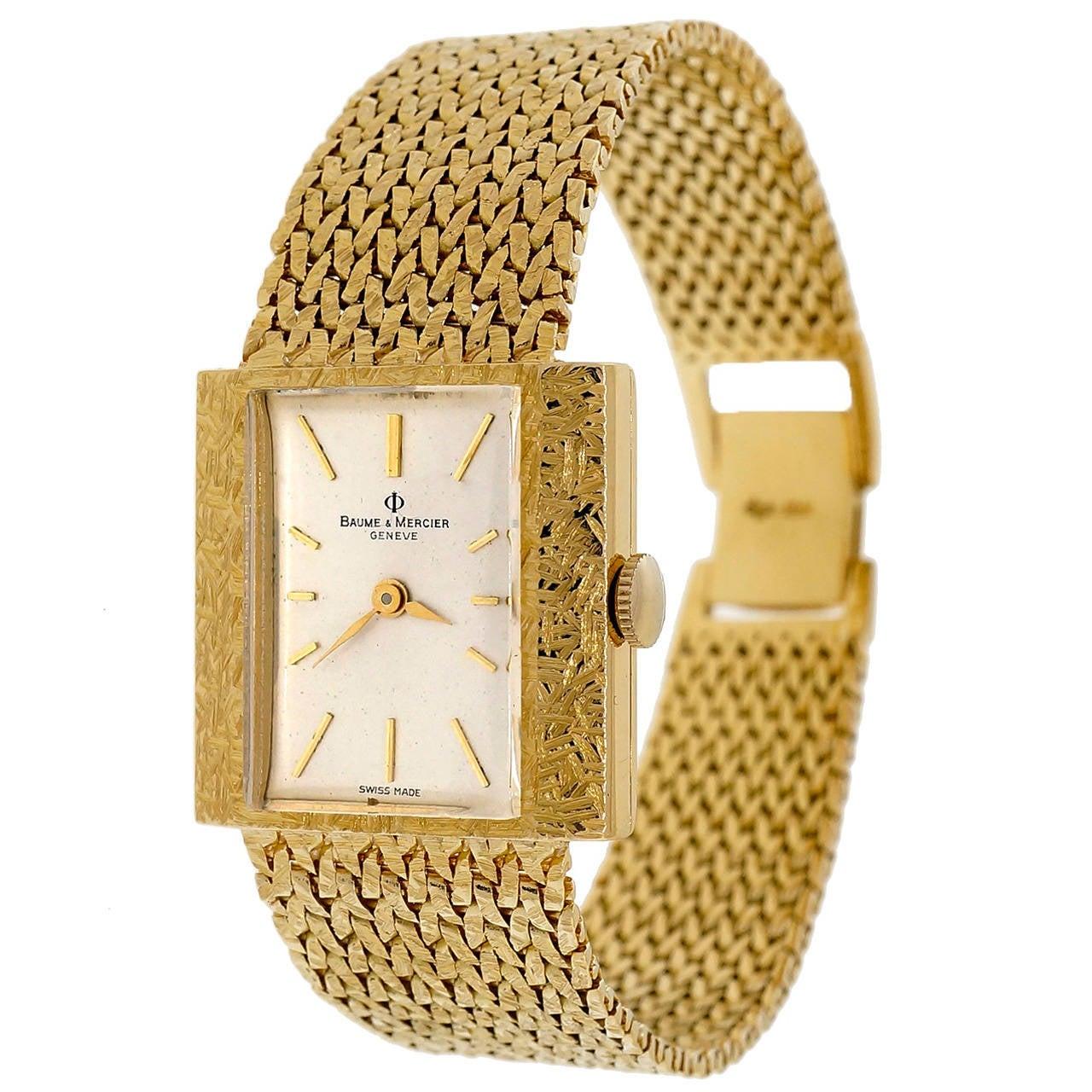 Baume & Mercier Lady's Yellow Gold Mesh Wristwatch