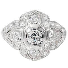 1.31 Carat Old European Diamond Platinum Dome Edwardian Engagement Ring