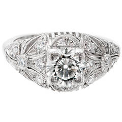 EGL Certified 1.03 Carat Transitional Cut Diamond Platinum Dome Engagement Ring