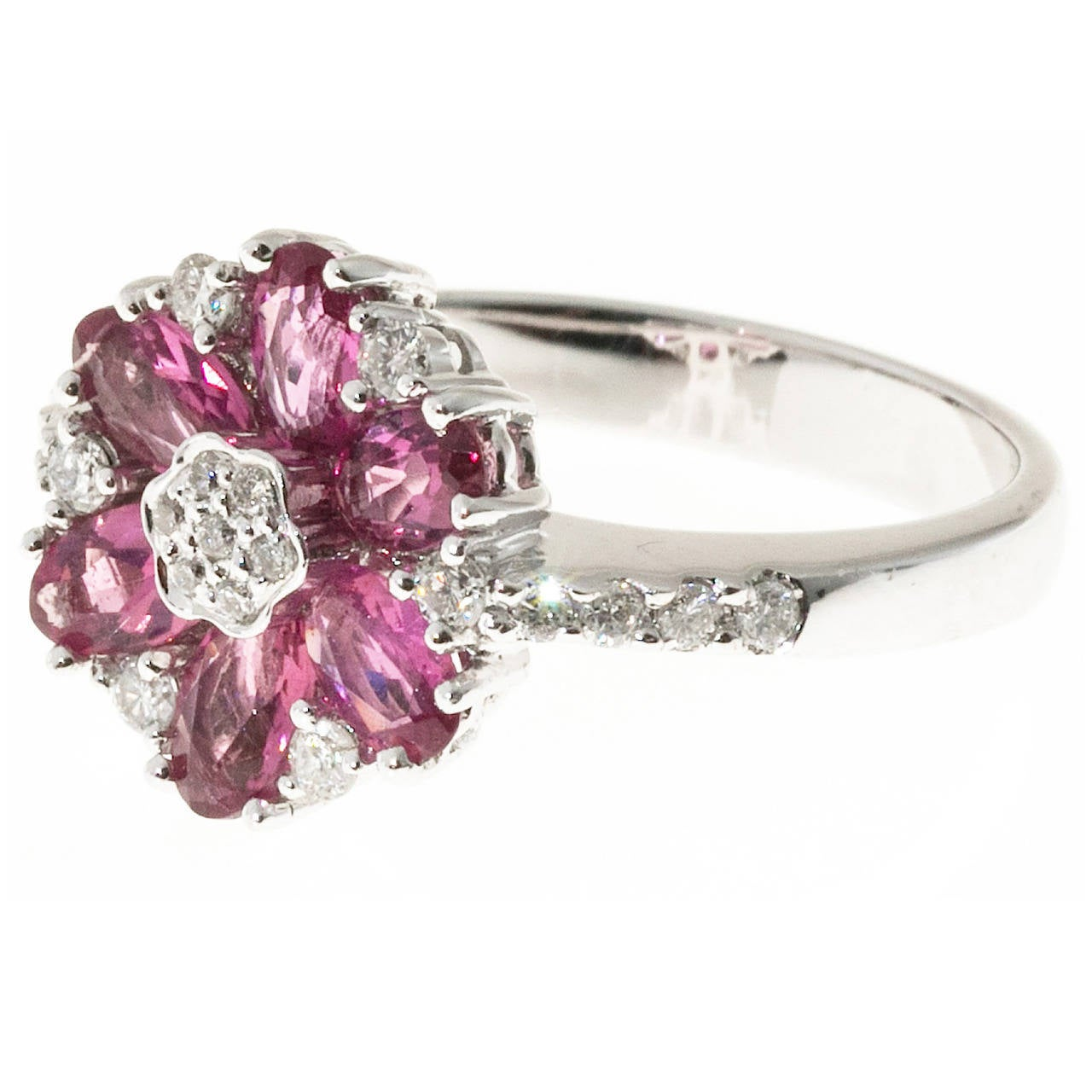 Pink Tourmaline Diamond White Gold Ring For Sale