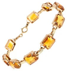 Art Deco Natural Madera Citrine Pink Gold Hinged Bracelet