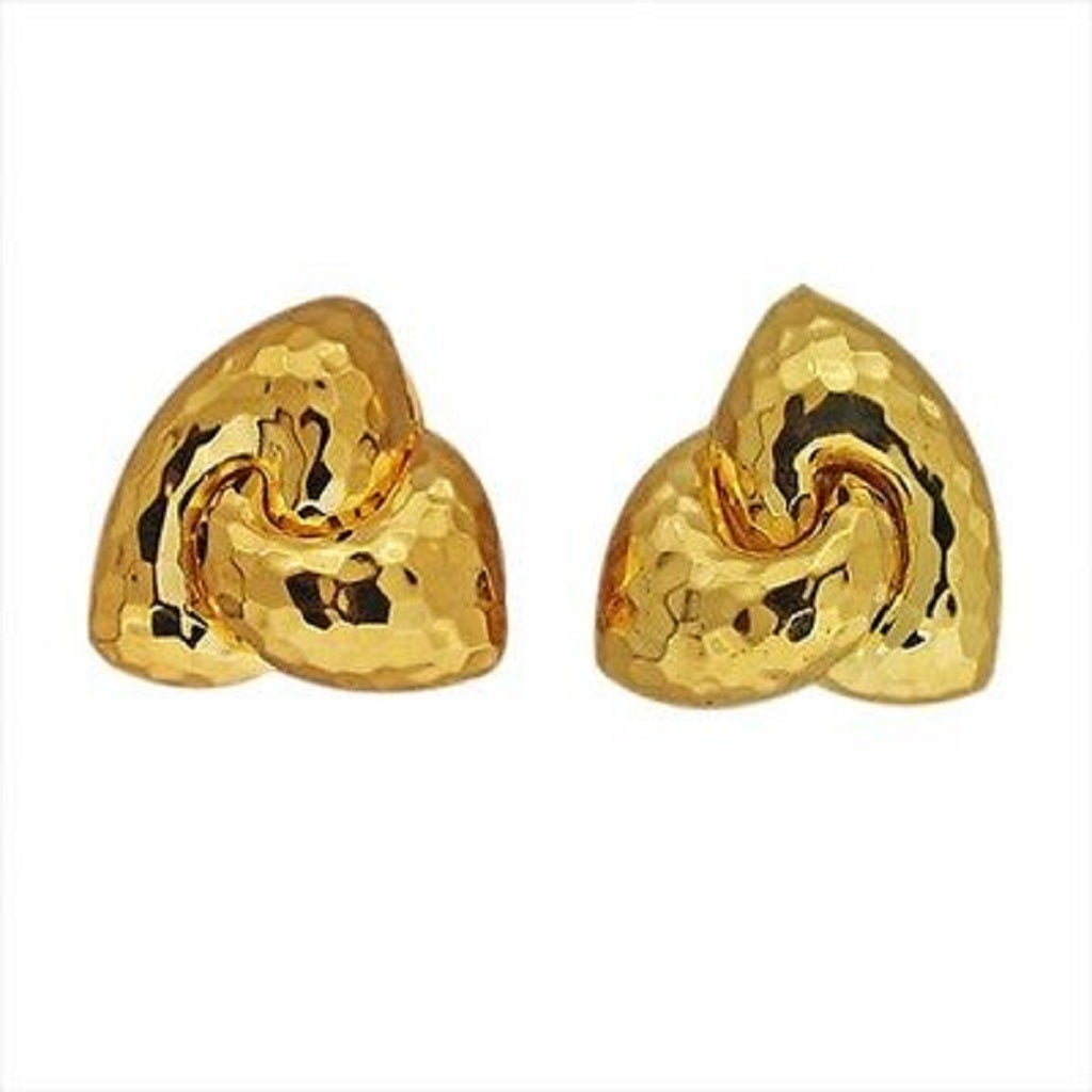 Henry Dunay Hammered Gold Clip Post Earrings For Sale 1