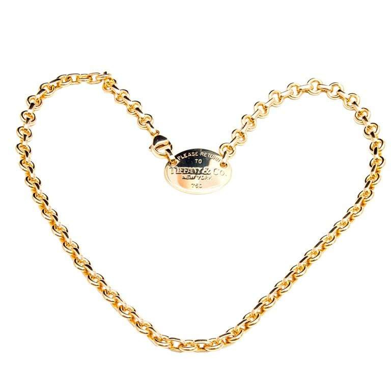 Tiffany And Co Oval Charm Solid 18k Yellow Gold Necklace