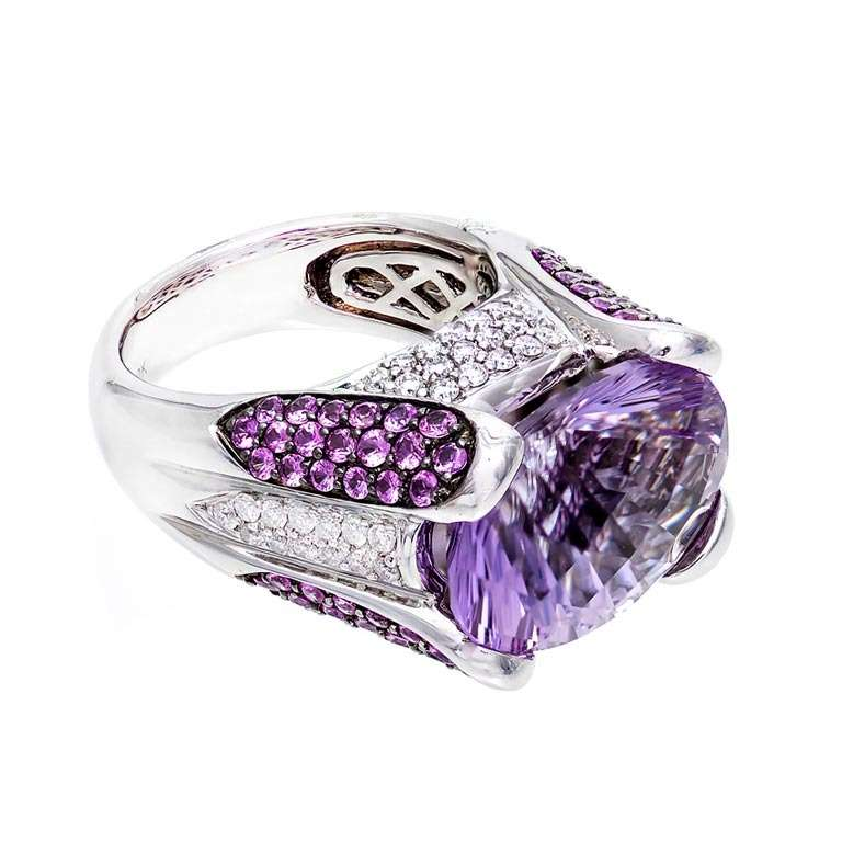 Fantasy Cut Amethyst Pink Sapphire Diamond Gold Ring