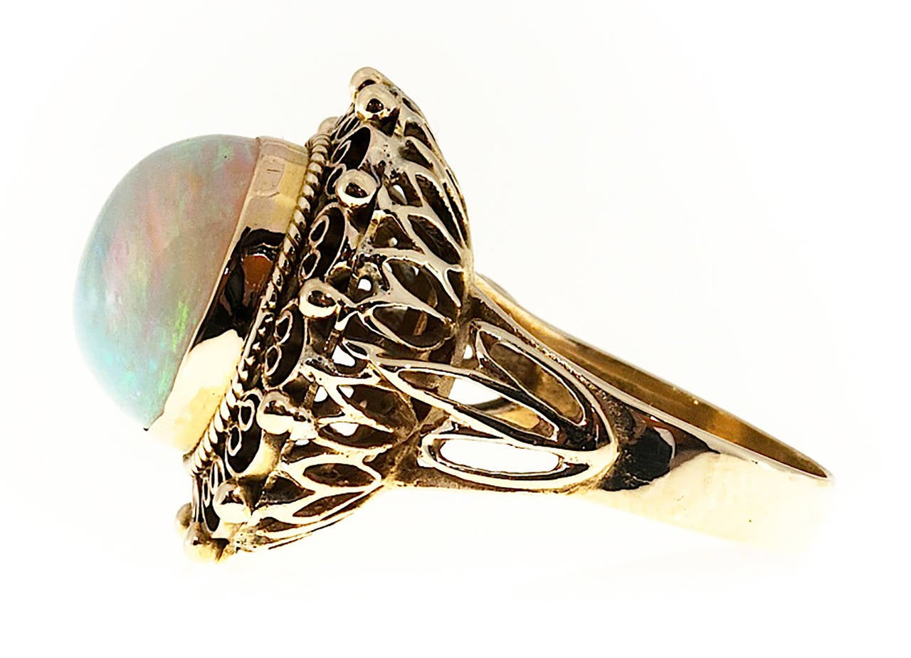 Art Deco Blue Green Opal Yellow Gold Ring For Sale 1