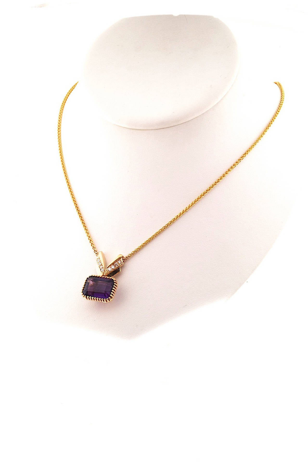 Amethyst Diamond Gold Pendant Necklace 2