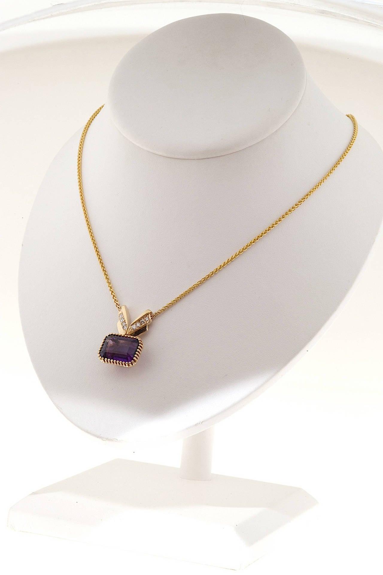 Amethyst Diamond Gold Pendant Necklace 7