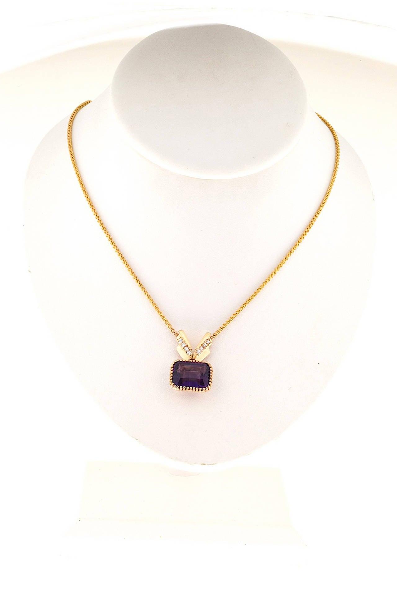 Amethyst Diamond Gold Pendant Necklace 5