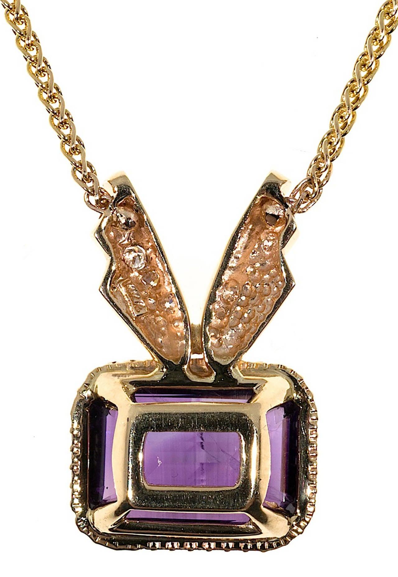 Amethyst Diamond Gold Pendant Necklace 6