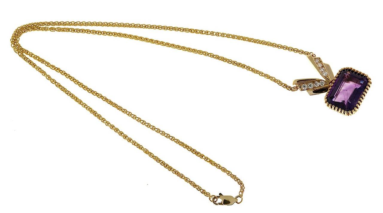 Amethyst Diamond Gold Pendant Necklace 3