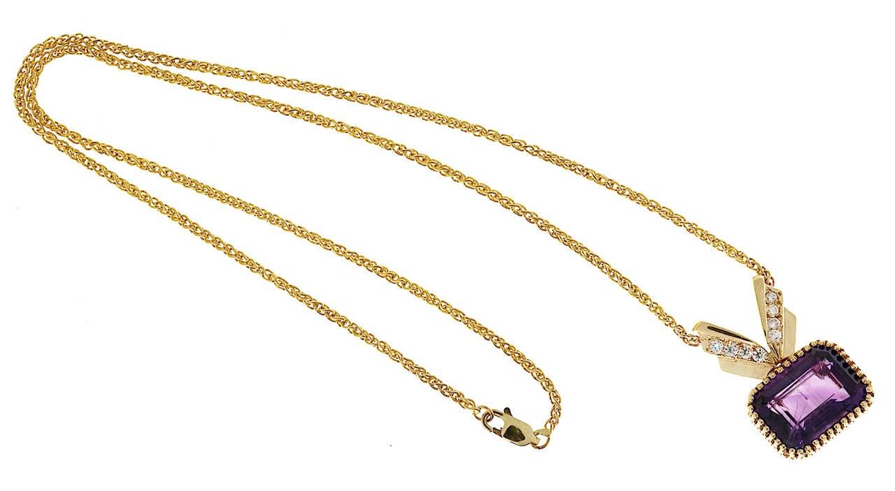 Amethyst Diamond Gold Pendant Necklace 8