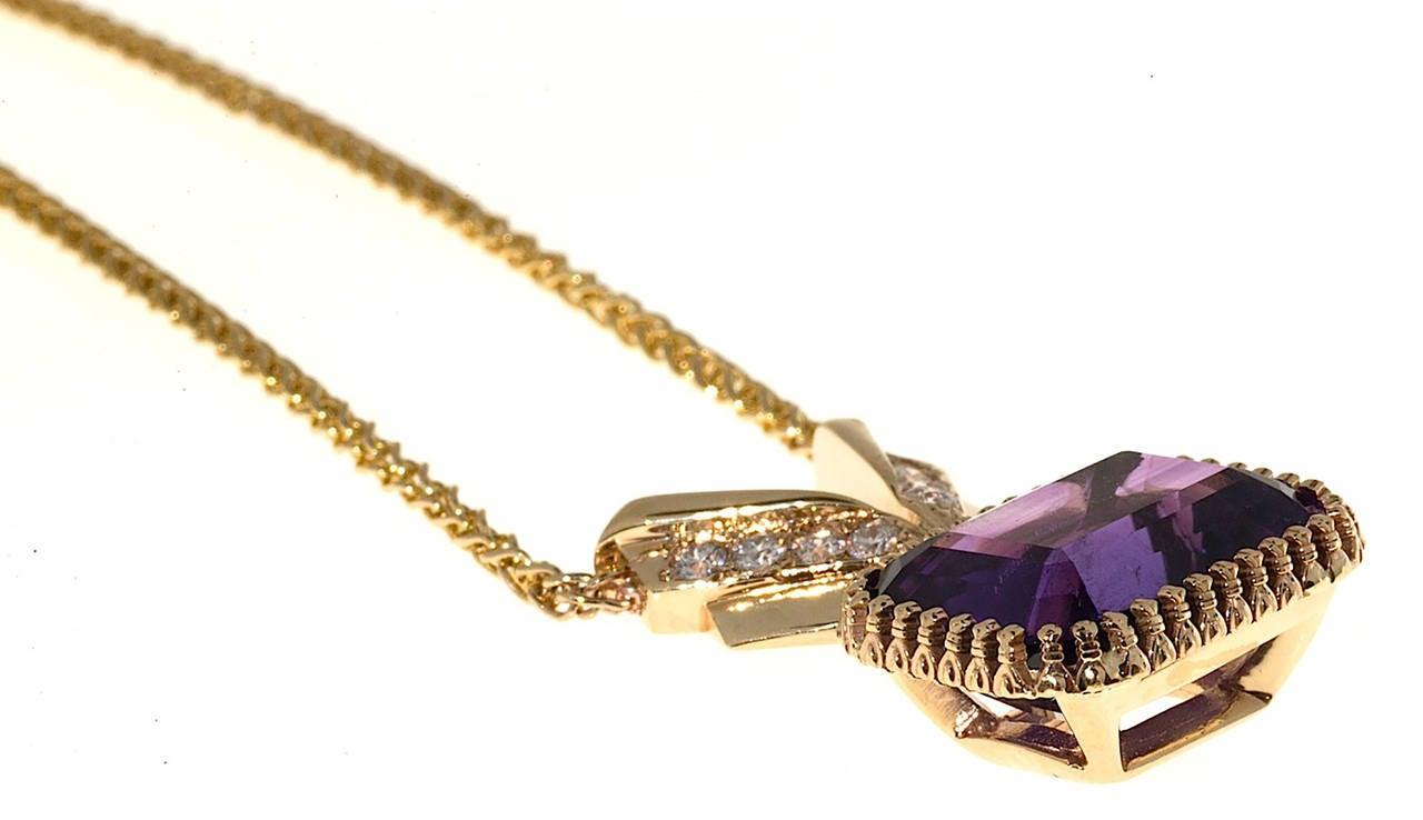 Amethyst Diamond Gold Pendant Necklace 4