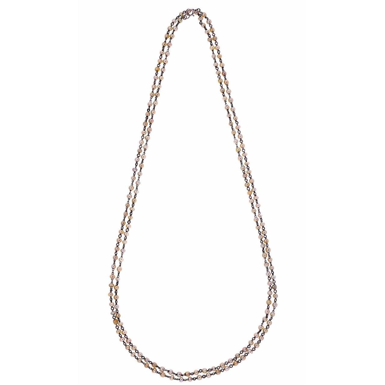 Victorian Natural Pearl Platinum Long Chain