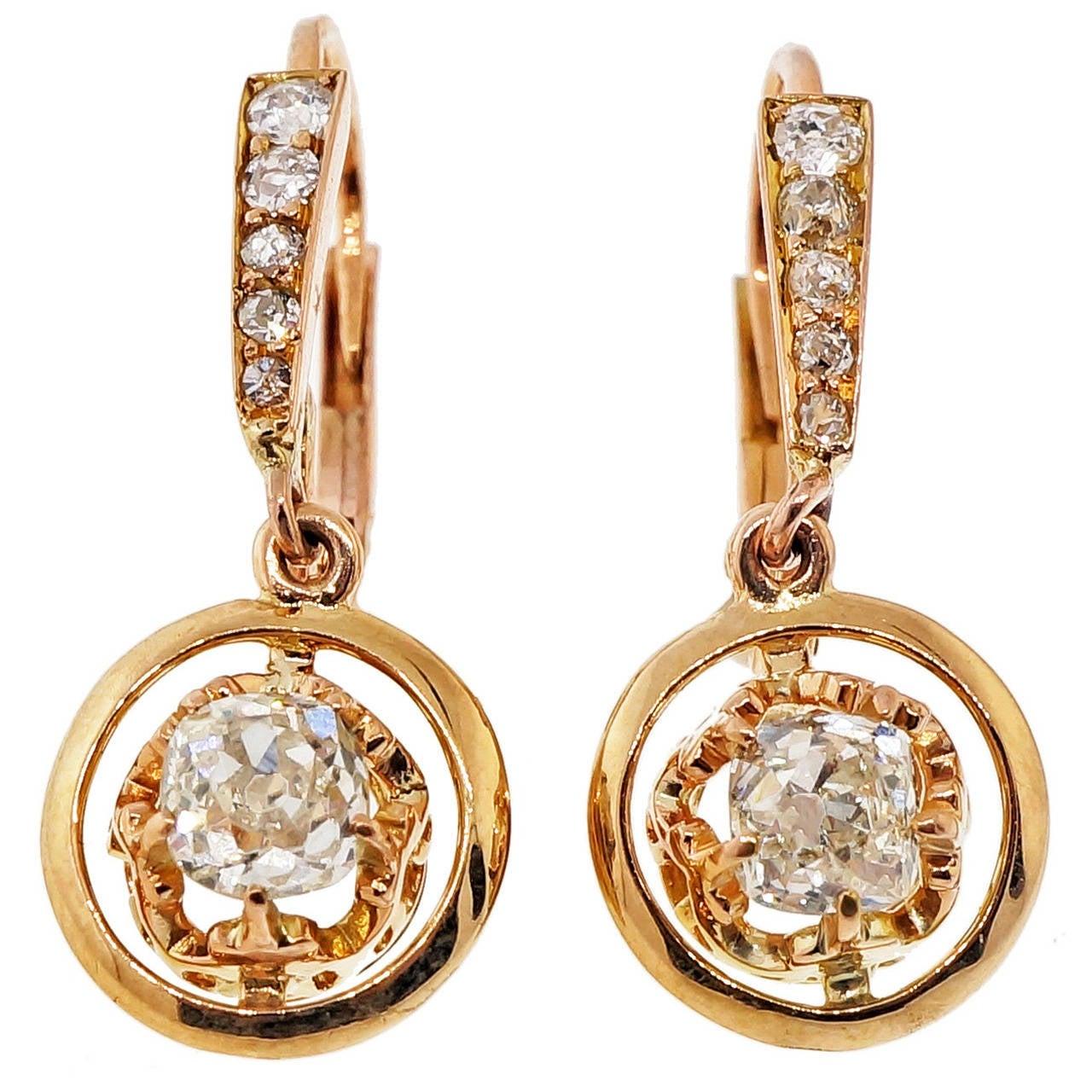 Victorian Diamond Rose Gold Dangle Earrings