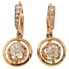 Victorian Diamond Rose Gold Dangle Earrings