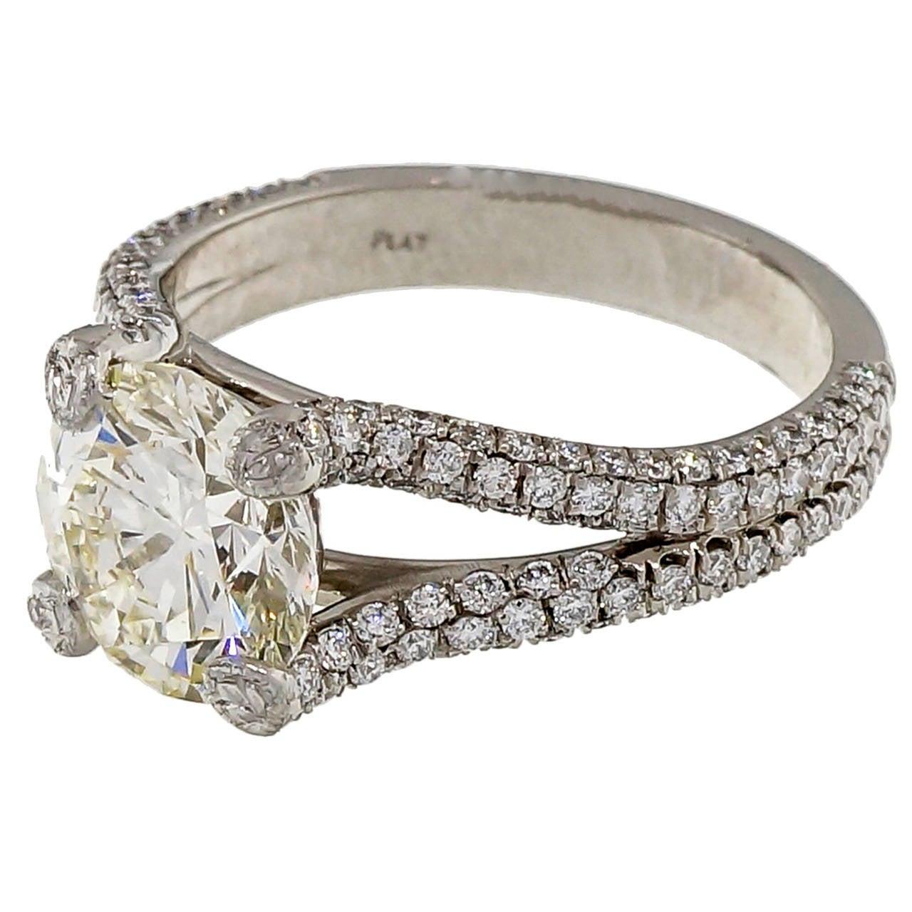 Diamond Rings For Sale Cheap: Peter Suchy Diamond Split Shank Platinum Engagement Ring