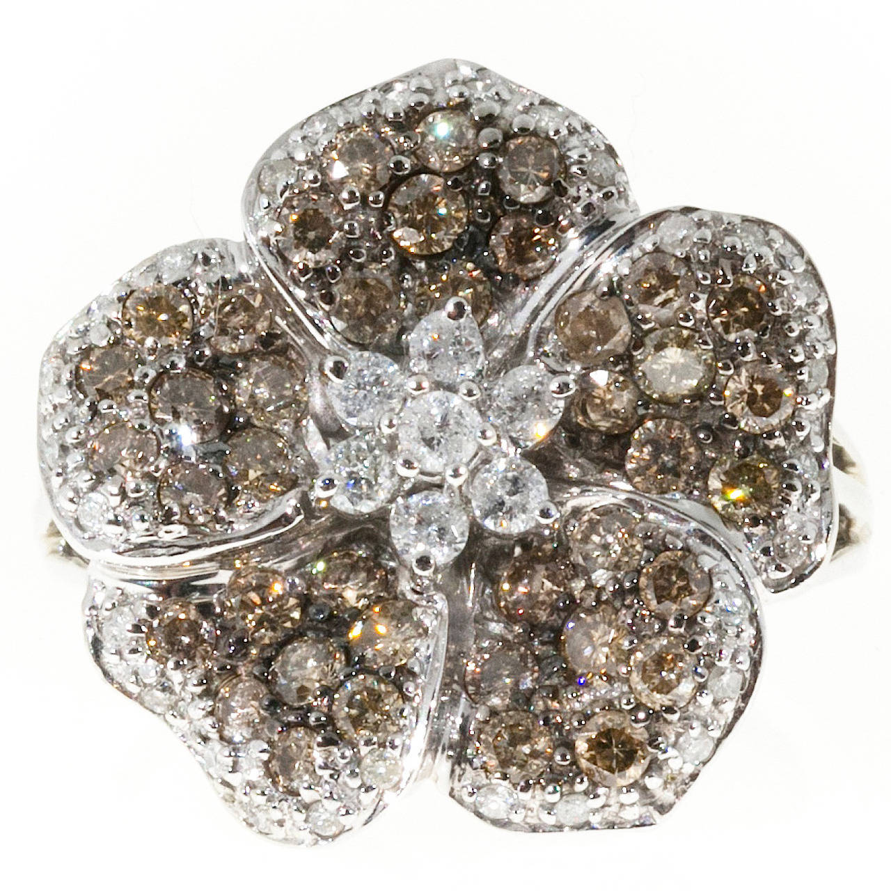 Diamond Gold Five Petal Flower Ring at 1stdibs