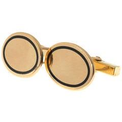 Tiffany & Co. Oval Enamel Gold Cufflinks