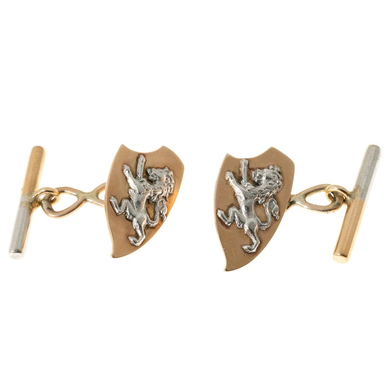 Rose Gold Platinum Lion Cufflinks