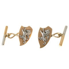 Rose Gold Platinum Lion Cufflinks
