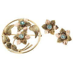 Blue Zircon Rose and Green Gold Engraved Pin and Earring Set