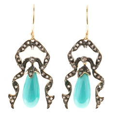Victorian Turquoise Round Diamond Gold Dangle Earrings