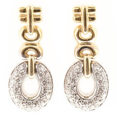 Oval Pave Diamond Gold Dangle Earrings