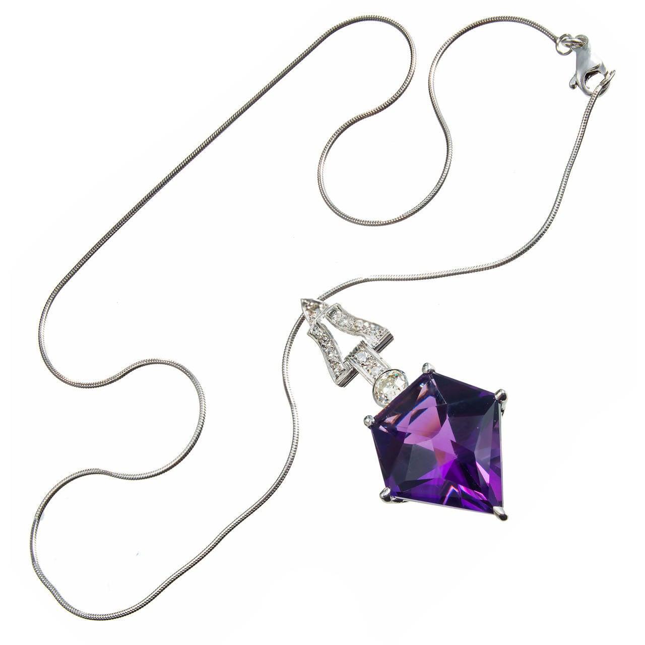 Art Deco Purple Amethyst Diamond Platinum Necklace