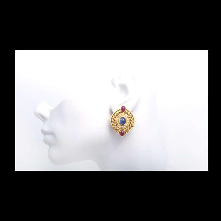 Women's Ruby Sapphire Diamond Swirl Button Gold Clip Post Earrings For Sale