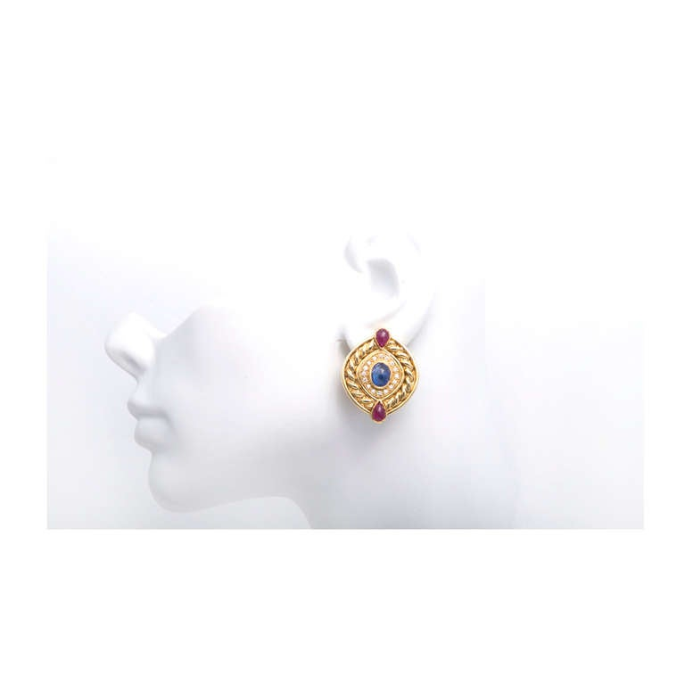 Ruby Sapphire Diamond Swirl Button Gold Clip Post Earrings In Good Condition For Sale In Stamford, CT