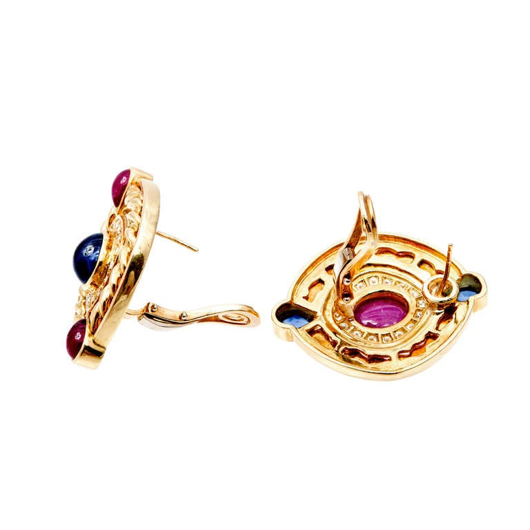Ruby Sapphire Diamond Swirl Button Gold Clip Post Earrings For Sale 1