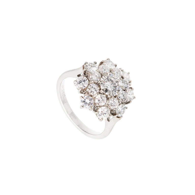 white gold raised cluster cocktail ring c1960s at