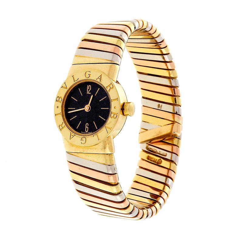 Bulgari Lady's Three-Color Gold Tubogas Wristwatch