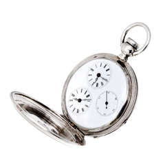 Tiffany Brothers Silver Dual Time Zone Pocket Watch circa 1860