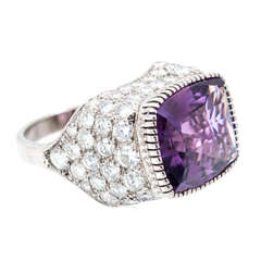 Amethyst Diamond Gold Dome Shaped Ring