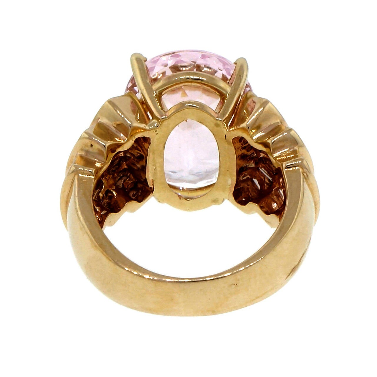 Morganite Baguette Diamond Gold Cocktail Ring For Sale at 1stdibs