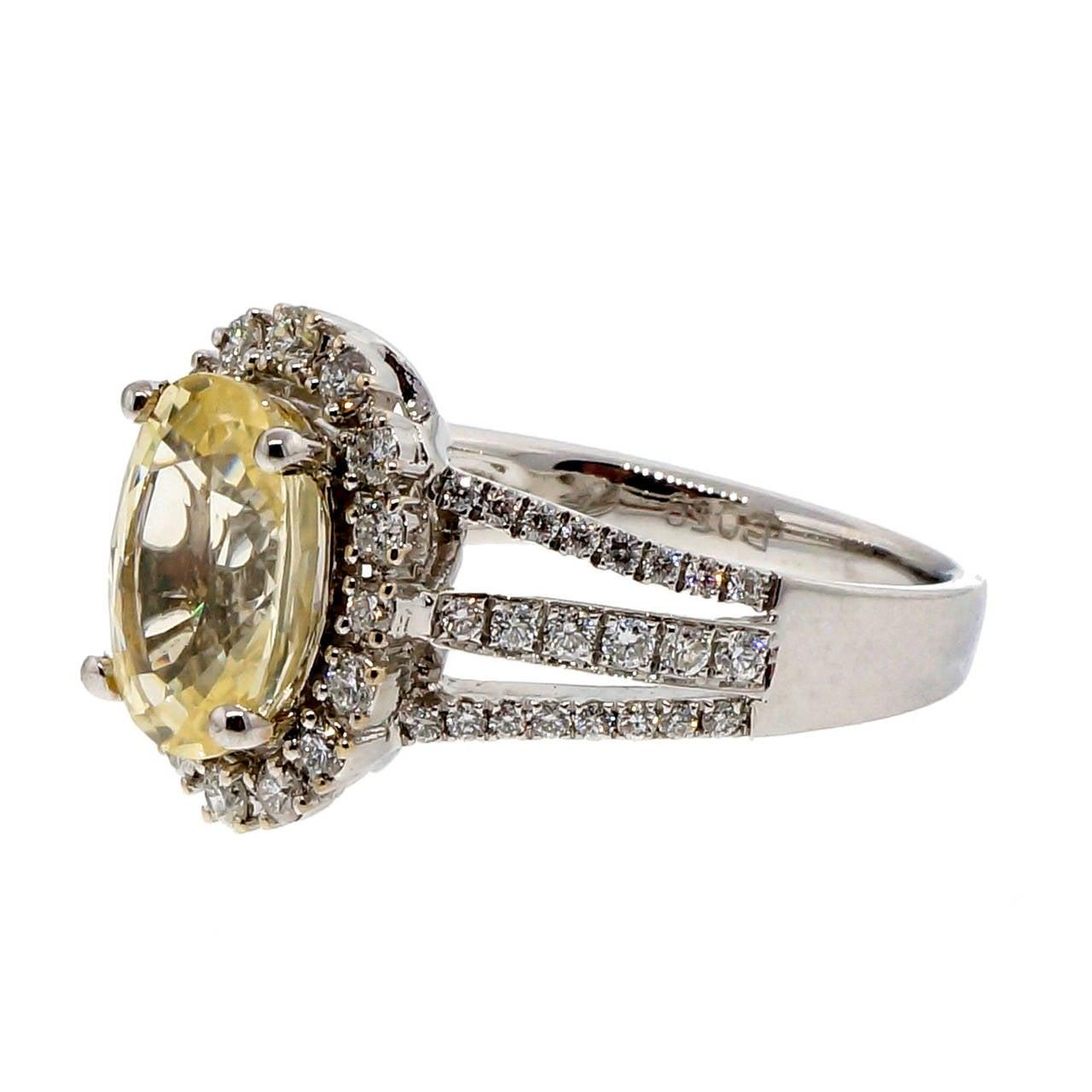 light cert yellow sapphire gold engagement