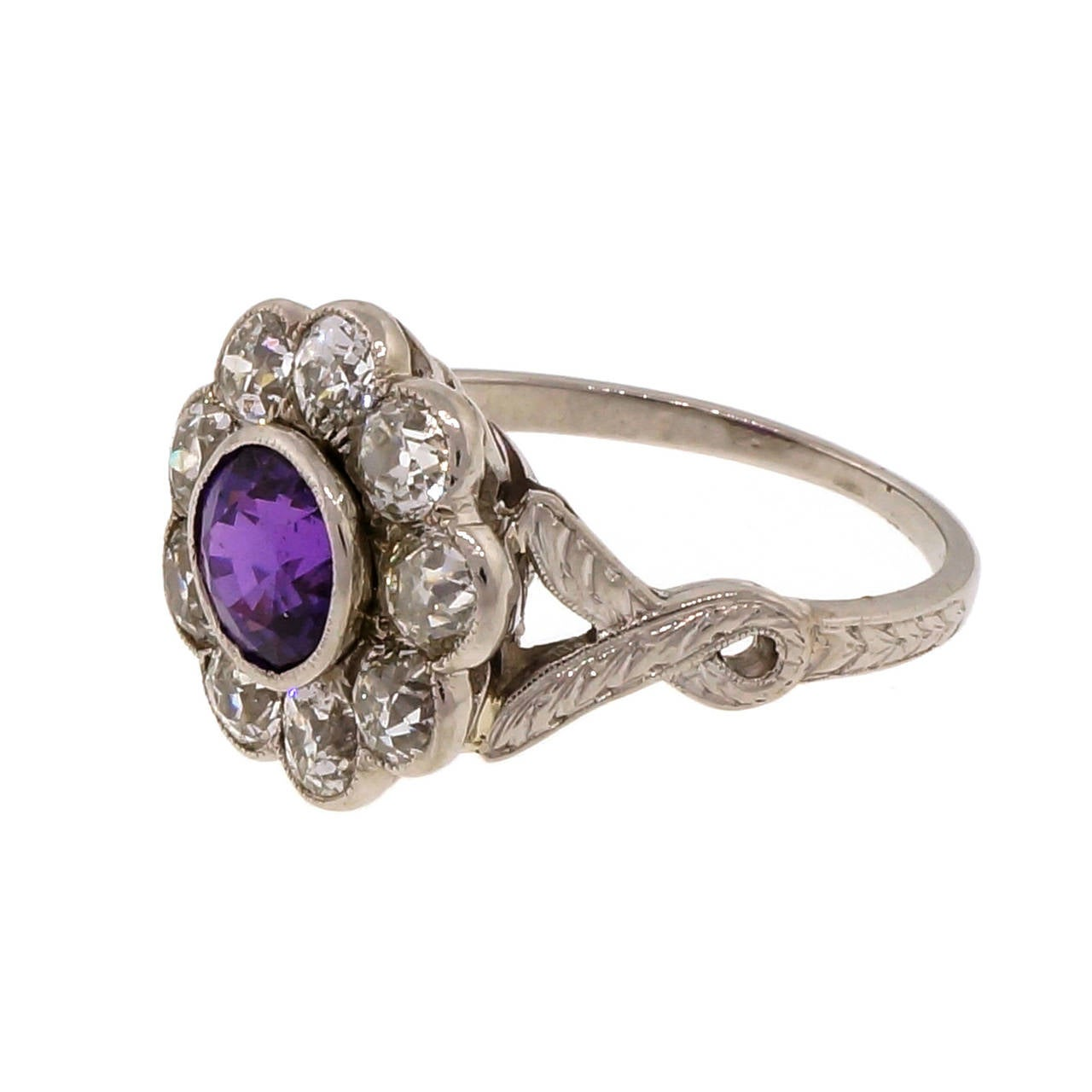 Old European Cut Purple Natural Sapphire Diamond Platinum Ring For Sale