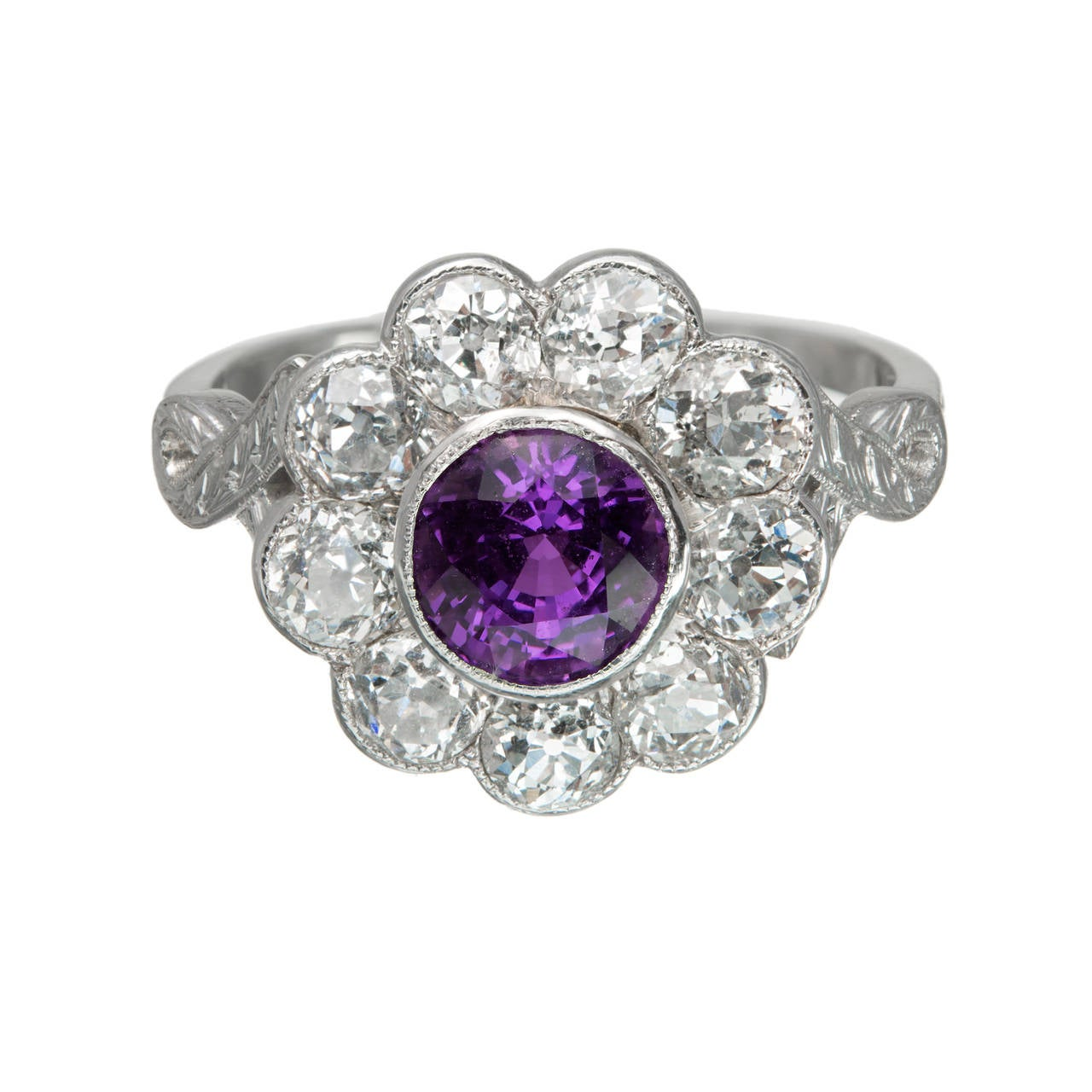 Purple Natural Sapphire Diamond Platinum Ring For Sale 3