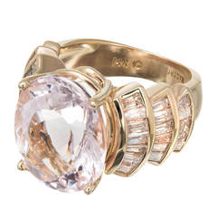 Morganite Baguette Diamond Gold Cocktail Ring