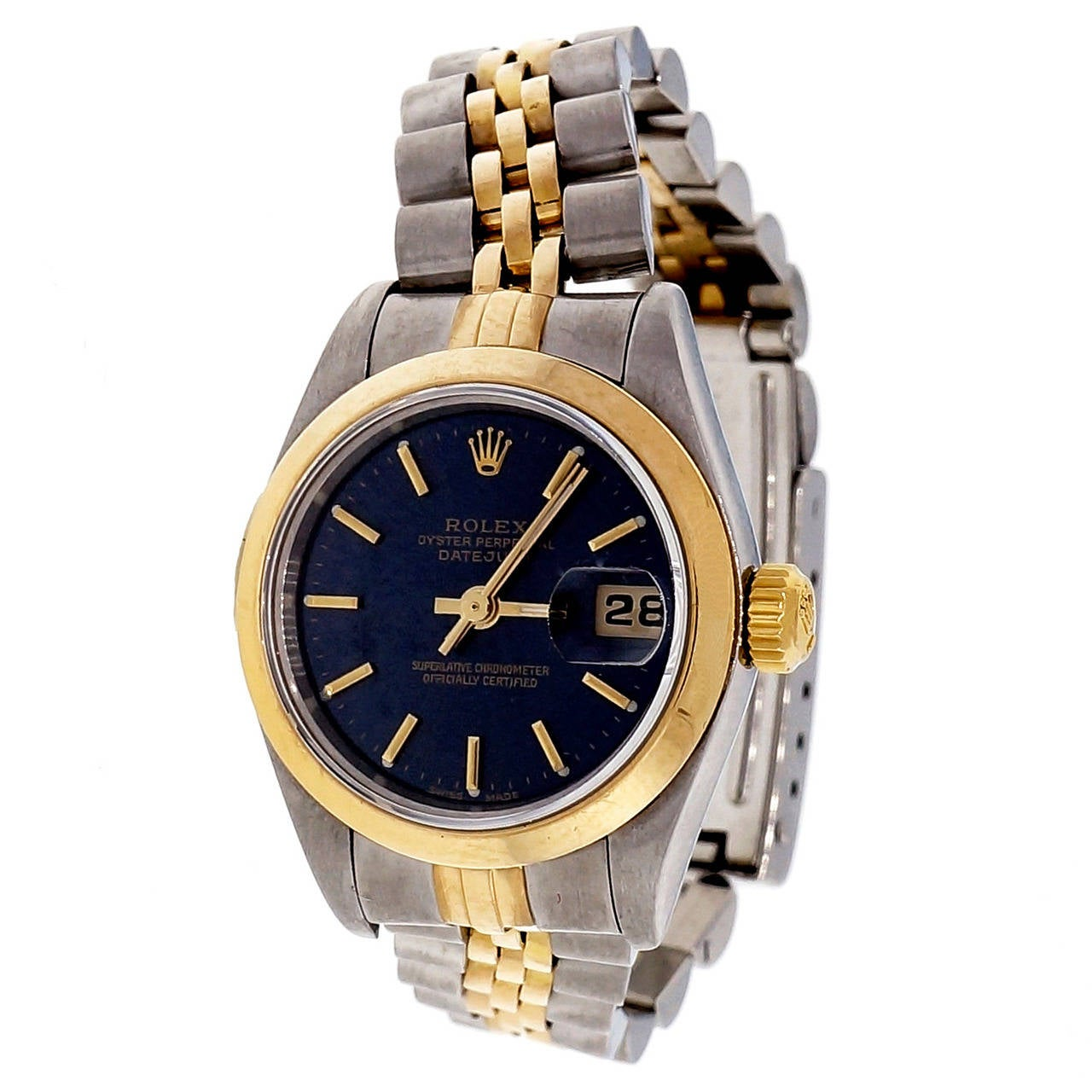 Rolex Lady's Yellow Gold Stainless Steel Datejust Wristwatch Ref 68173