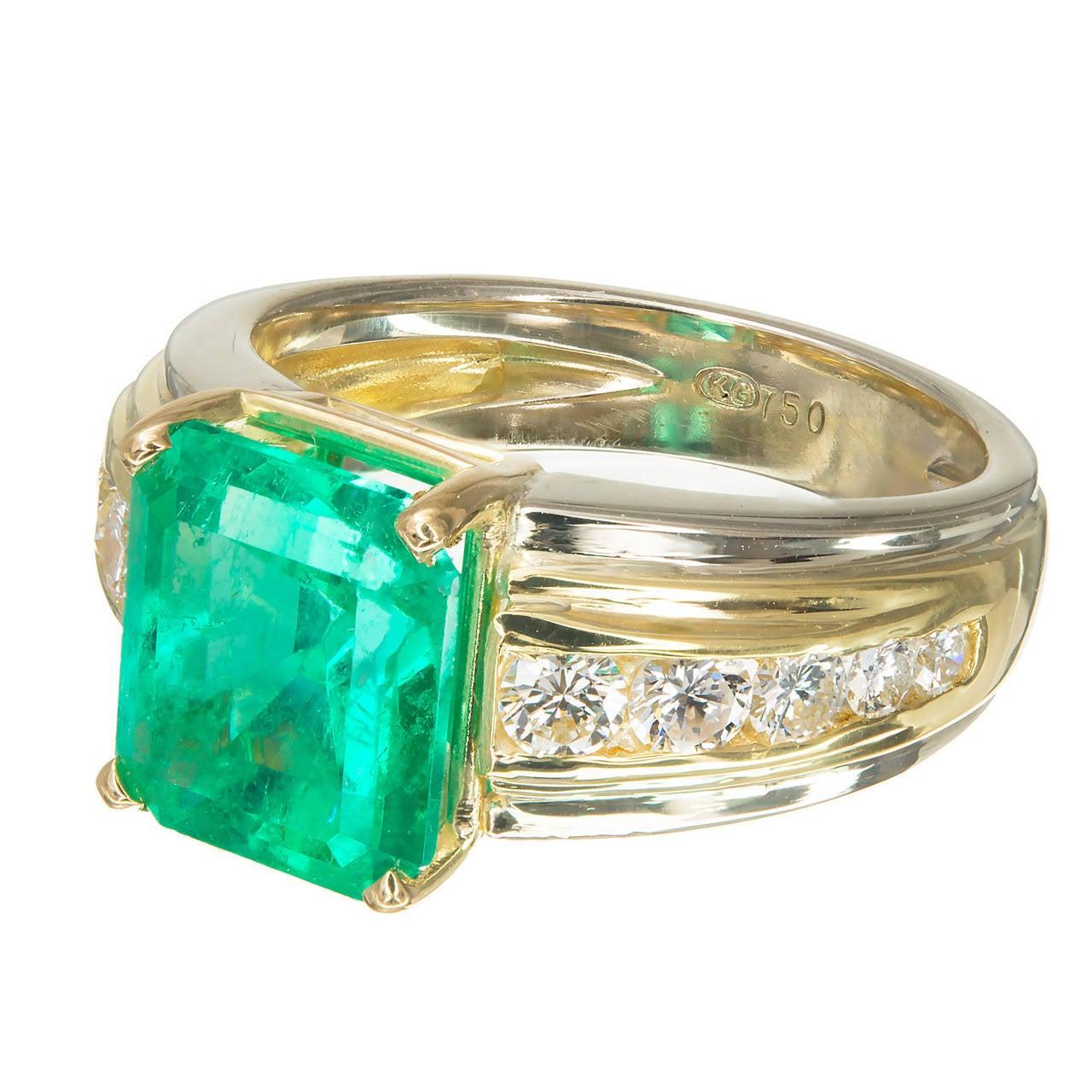 Columbian 4.02ct Emerald Diamond Yellow White Gold Engagement Ring
