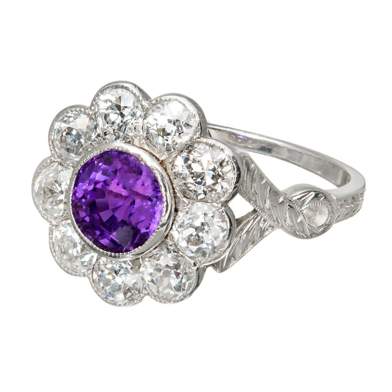 Purple Natural Sapphire Diamond Platinum Ring For Sale