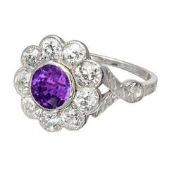 Purple Natural Sapphire Diamond Platinum Ring