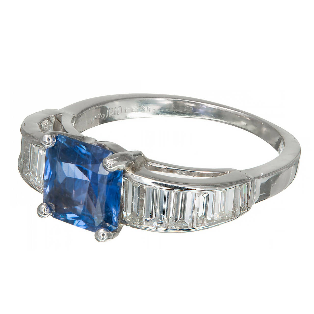 deco blue sapphire platinum engagement ring at