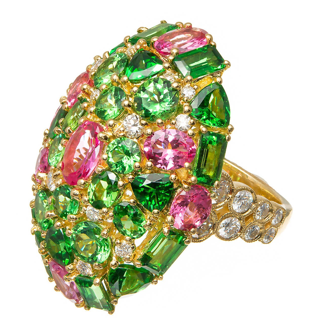 Tsavorite Garnet Pink Spinel Diamond Gold Cocktail Ring 1
